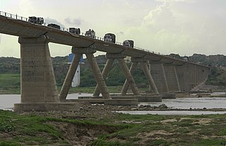 Bridge on Chambel river, Rajasthan, India.jpg