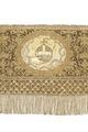 Broderat riksäpple liggandes i guds hand gjord av siden, guld och silver - Livrustkammaren - 91403.tif