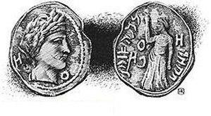 "Aretas IV Philopatris - Caption: Bronze Coin of Aretas IV, with Inscription ""Aretas King of Nabathæa . . . Year . . ."""