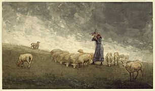 Brooklyn Museum - Shepherdess Tending Sheep - Winslow Homer - overall.jpg