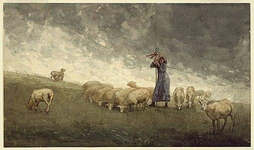 Brooklyn Museum - Shepherdess Tending Sheep - Winslow Homer - overall