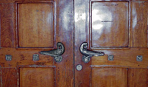 Monel - Monel doorknobs in the Bryn Athyn Cathedral