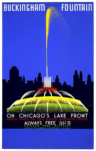 Buckingham Fountain - Buckingham Fountain on a 1939 Works Progress Administration poster