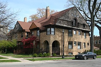 National Register of Historic Places listings in Evanston, Illinois - Image: Building at 1401 1407 Elmwood 2