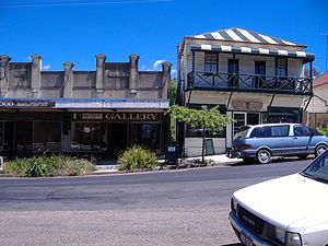 Cobargo, New South Wales - Art and craft galleries line the main street displaying locally produced works of pottery, leather and wood
