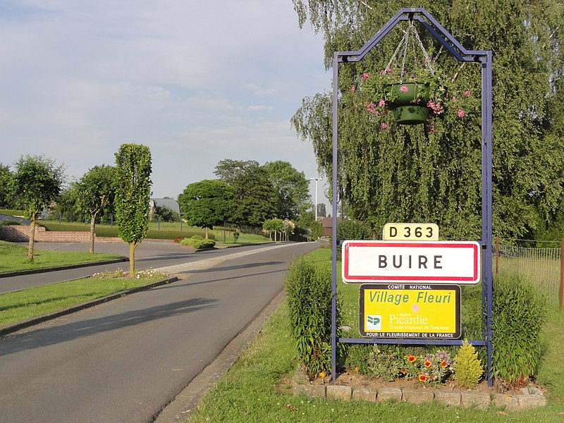 Buire (Aisne) city limit sign