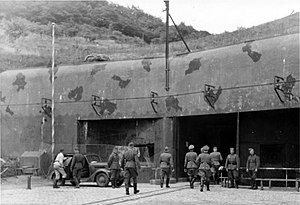Fortified Region of Metz - German officers entering the ammunition entry at Ouvrage Hackenberg