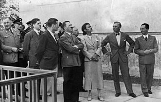 Adolf Ziegler - Adolf Hitler, architect Gerdy Troost wife of Paul Ludwig Troost, Adolf Ziegler (with the bowtie), and Joseph Goebbels at the opening of the House of German Art (Haus der deutschen Kunst), May 1937