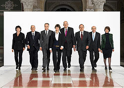The Federal Council of Switzerland, the seven-member collective Head of State of Switzerland, in 2007 (also depicted: Federal Chancellor, far right in grey)
