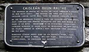 Bunratty Castle - An Irish language plaque at Bunratty Castle