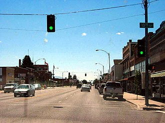 Burley, Idaho - Looking north along Overland Avenue (SH 27) in Burley, August 2007