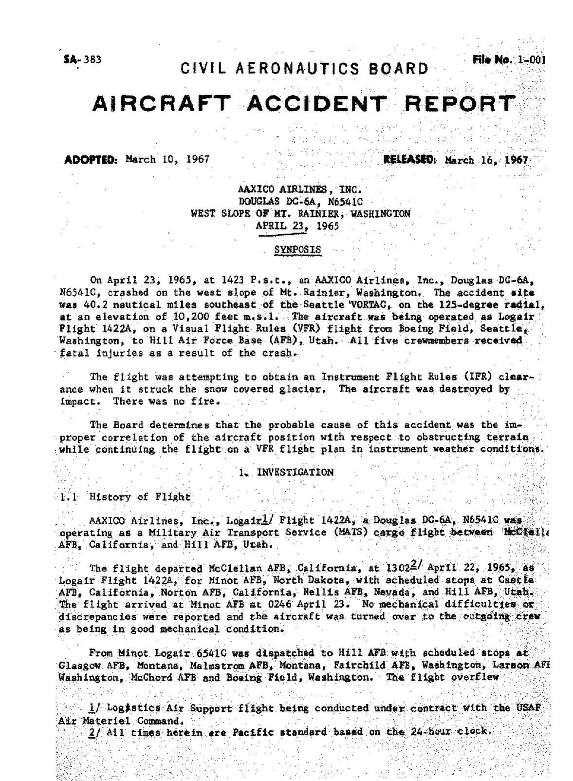 Page:CAB Accident Report, AAXICO Logair Flight 1422A pdf/1