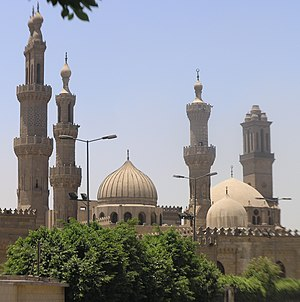 Al-Azhar Mosque - Exterior view of al-Azhar Mosque. From left to right the minarets of al-Ghuri, Qaytbay, Aqbaghawiyya, and Katkhuda