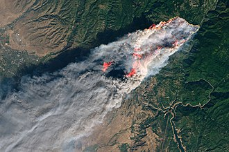 Camp Fire (2018) - The Camp Fire as seen from the Landsat 8 satellite on November 8, 2018