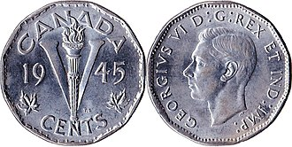 Nickel (Canadian coin) - Image: Canada $0.05 1945