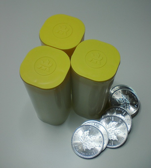 Canadian Silver Maple Leaf - Three 25-coin tubes together with seven coins