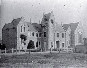 Benjamin Mountfort - Canterbury College, designed by Benjamin Mountfort in 1877, is dominated by a central clock tower, with a medieval style great hall to the right.