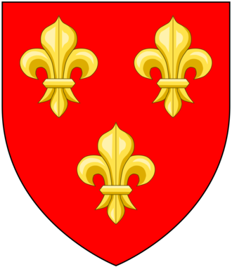 "William de Cantilupe (died 1239) - Arms of William de Cantilupe: Gules, three fleurs-de-lys or (""Cantilupe Ancient""). These arms changed in the late 13th century to jessant-de-lys"