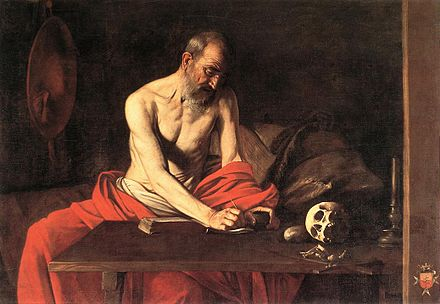Saint Jerome Writing, by Caravaggio. Held in St John's Co-Cathedral, Valletta. CaravaggioJeromeValletta.jpg