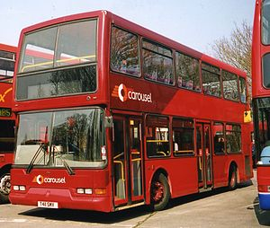 East Lancs Lolyne - A nearside view of a Lolyne-bodied Dennis Trident 2, run by Carousel Buses.