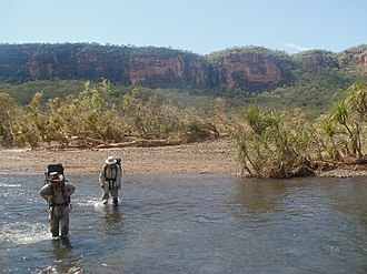 Carson River (Western Australia) - A 2012 expedition crossing the Carson River in the Drysdale River National Park during the dry season.
