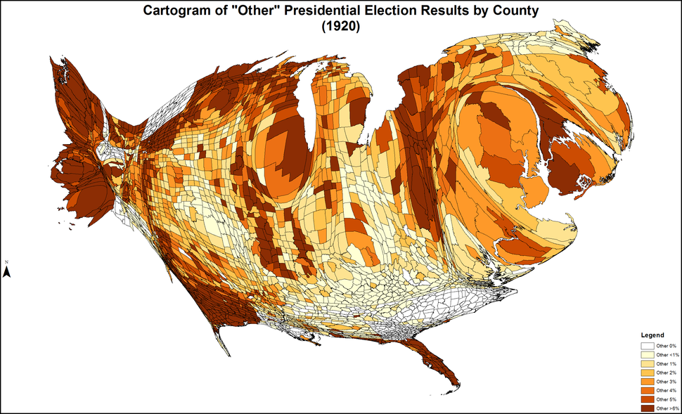 CartogramOtherPresidentialCounty1920Colorbrewer