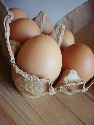 Egg carton - A carton of six eggs.