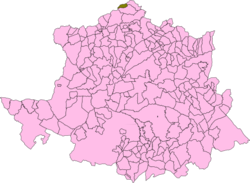 Location of Casares de las Hurdes in Cáceres Province