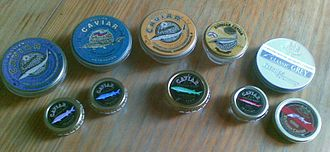 Caviar - Russian and Iranian caviar tins: Beluga to the left, Ossetra in middle, Sevruga to the right
