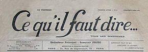 El titular delo que debe decirsedel 2 de abril de 1916.