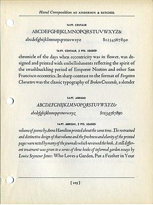 Centaur (typeface) - Image: Centaur & Arrighi text