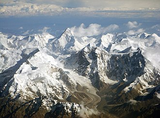 Tian Shan - The Tian Shan range on the border between China and Kyrgyzstan with Khan Tengri (7,010 m) visible at center