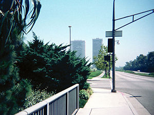 Avenue of the Stars, Century City - Looking south down Avenue of the Stars, 1977