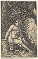 Cephalus and Procris- Procris turns her head over her right shoulder while seated nude in a thicket, Cephalus draws an arrow with a bow beyond, from a series of four mythological scenes MET DP828515.jpg