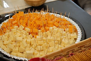 Cheddar cheese cubes at the Public tasting eve...
