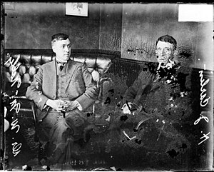 William Duncan McNally - Chemist, Dr. William Duncan McNally, and H. J. Carlin, sitting in a room in 1916