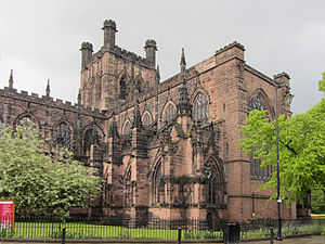 Chester Cathedral - The sandstone exterior (from the south west) has much decorative architectural detail but is heavily restored.