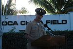 Chief Petty Officer Larry Thomas reads a short history about attack on Pearl Harbor 091207-N-DI587-032.jpg