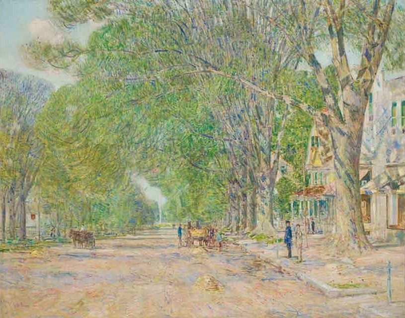 Childe Hassam's 1920 oil, The East Hampton Elms in May