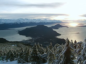 Chilkat Peninsula - A picture of the Chilkat Peninsula from the Takshanuk Mountains with Haines in the foreground.