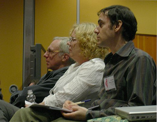 Music journalists (from left to right) Robert Christgau and Ann Powers and musicology professor Charles Kronengold at the 2007 Pop Conference at Seattle's Experience Music Project Christgau et al 01A.jpg