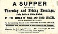 Circular advertising a supper for benefit of the Colored Baptist Church, to be held over Robinson's Saloon, (Alton, Illinois), July 12-13, 1855.jpg