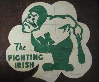 "Bishop McGuinness Catholic High School (Oklahoma) - ""Clancy"" mascot image from the floor of the old McGuinness building"