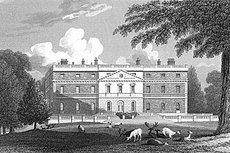 Clandon Park House - Engraving of the house, showing the west front and deer park, c. 1824