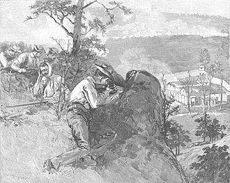 Coal Wars - Tennessee miners attacking Fort Anderson during the Coal Creek War in 1892.
