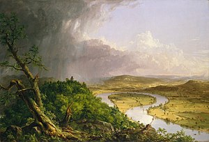 Mount Holyoke - View of the Connecticut River Oxbow from Mount Holyoke summit. 1836 painting by Thomas Cole.