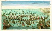 Combat naval devant Minorque en mai 1756 entre Francais et Anglais