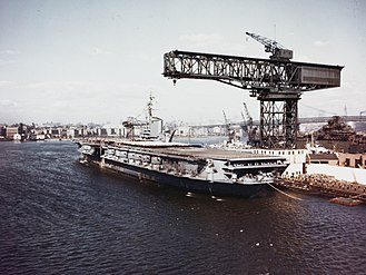 USS Franklin D. Roosevelt (CV-42) - Roosevelt at commissioning ceremonies in 1945