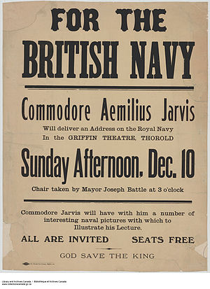 Aemilius Jarvis - Commodore Aemilius Jarvis at the Griffin Theatre, Thorold; recruiting for the Royal Navy. (1914-18)