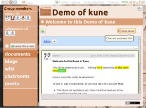 Kune (software) - Image: Concurrent edit and chat